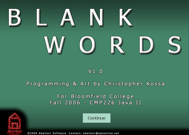 BlankWords title screen shot